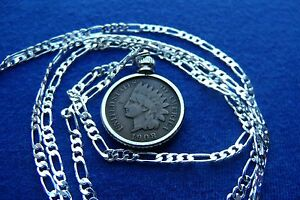 Authentic-Indian-Penny-Pendant-on-up-to-a-22-034-925-Silver-Chain-100-USA-MADE