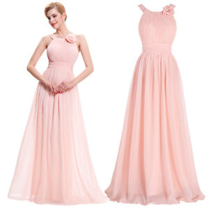 Hot Long Formal Evening Dresses Ball Gown Party Prom Bridesmaid Maxi Dress Pink