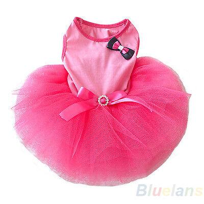 Crystal Bowknot Sleeveless Tutu Dress Clothes For Small Pet Dog Cat Pink BC4U