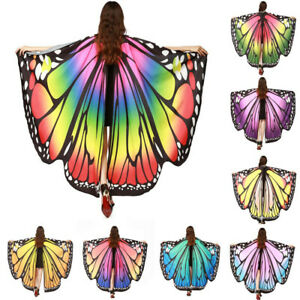 Women-Butterfly-Wing-Shawl-Scarves-Scarf-Nymph-Pixie-Poncho-Costume-Accessory-AU