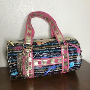 BETSEY-JOHNSON-CALL-ME-Rare-Telephone-Pink-Studded-Barrel-Bag