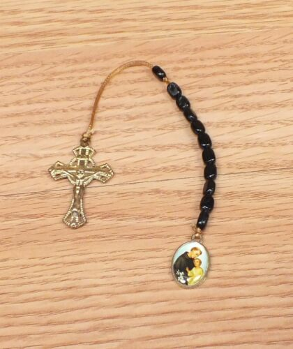 Gold Toned Black Beaded Brown Ribbon Single Ministry Rosary St. Anthony READ