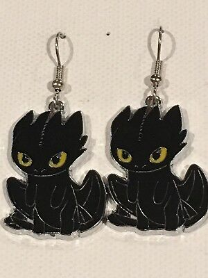 TOOTHLESS Earrings Surgical New How to Train Your Dragon Black Night Fury