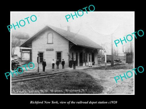 OLD 6 X 4 HISTORIC PHOTO OF RICHFORD NEW YORK, THE RAILROAD DEPOT STATION c1920
