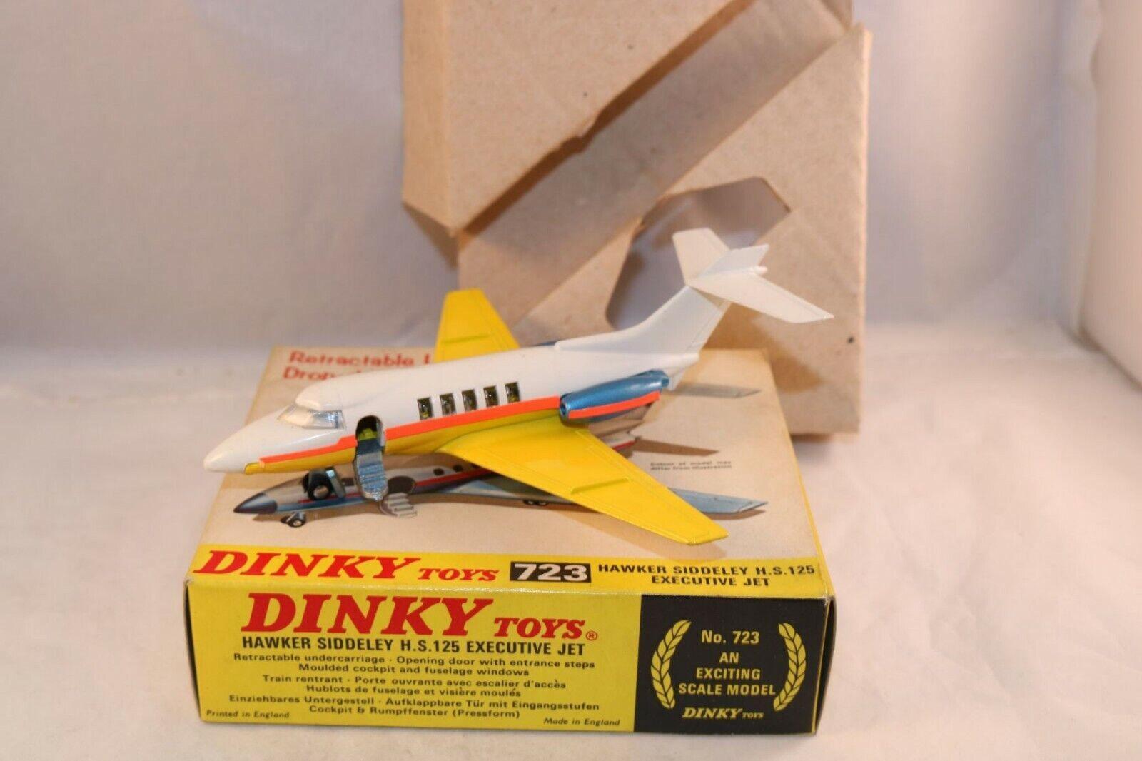 promozioni Dinky giocattoli 723 Hawker Siddeley Siddeley Siddeley H.S.125 Executive jet Perfect mint in scatola Superb  colorways incredibili