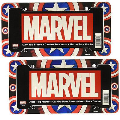 Marvel Comics Captain America Shield Design Plastic License Plate Frame 2 PC