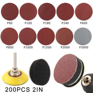 Disques-poncage-200x-50mm-Pads-Sander-Hook-Loop-Sandpaper-80-3000-Grits-Outil-ME