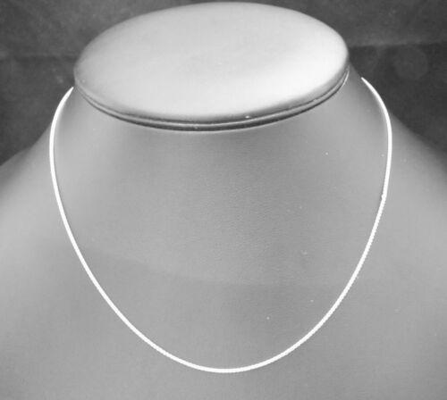 "18ct Collar de Cadena de oro Blanco O Colgante Spiga 16/"" o 18/"" pulgadas de largo de 1mm de ancho"