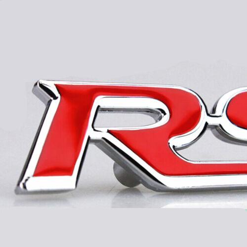Red 3D RS Logo Metal Badge Front Grill Grille Car Logo Emblem Deacl Sport Metal