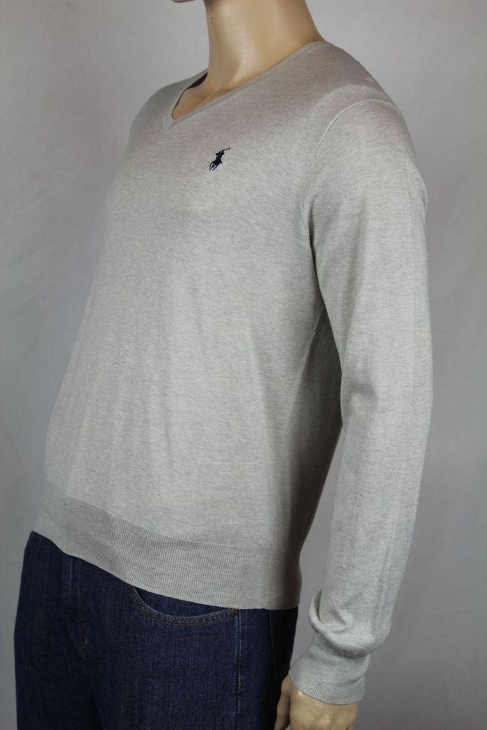 Polo Ralph Lauren Large L Grau Pima Cotton Sweater Navy Blau Pony NWT