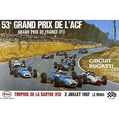 PLAQUE ALU DECO REPRO AFFICHE GRAND PRIX ACF TROPHEE SARTHE LE MANS 1967 F1