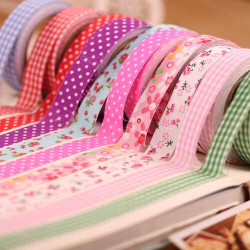 Fabric Lot 10Pcs Masking Washi Adhesive Paper Sticker Tape Stickyative DIY.