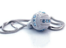 Aqua Blue Volleyball Ball Sports Charm Pendant Necklace Volleyball MOM Girl Gift