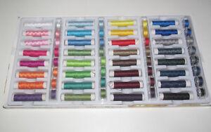 Set-kit-x64-Canettes-Bobines-15-m-de-Fil-Polyestter-pour-Machine-a-Coudre-NEUF