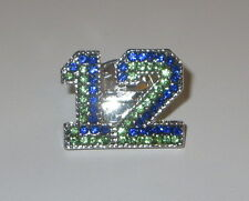 12 Pin Seattle Sports Football Crystals Blue Green Silver Tone New Tie Tac