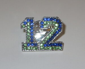 12 Pin Seattle Sports Football Crystals Blue Green Silver Tone New