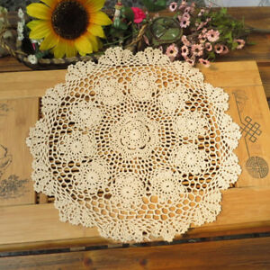 Ecru Vintage Hand Crochet Lace Doily Round Table Topper 20inch