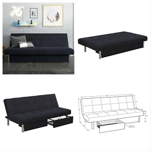 Details about Convertible Sleeper Sofa Futon Bed Lounger Couch with Storage  Drawers Dark Blue