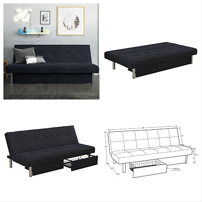 the latest 7dd58 3e6c3 Convertible Sleeper Sofa Futon Bed Lounger Couch with Storage Drawers Dark  Blue 711181053036 | eBay