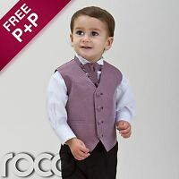 Baby Boys Burgundy Waistcoat Suit Wedding Pageboy Christening Communion Suits