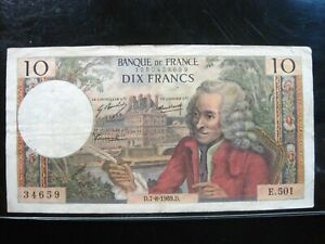 FRANCE-10-FRANCS-1969-FRENCH-59-Currency-Bank-Money-Banknote