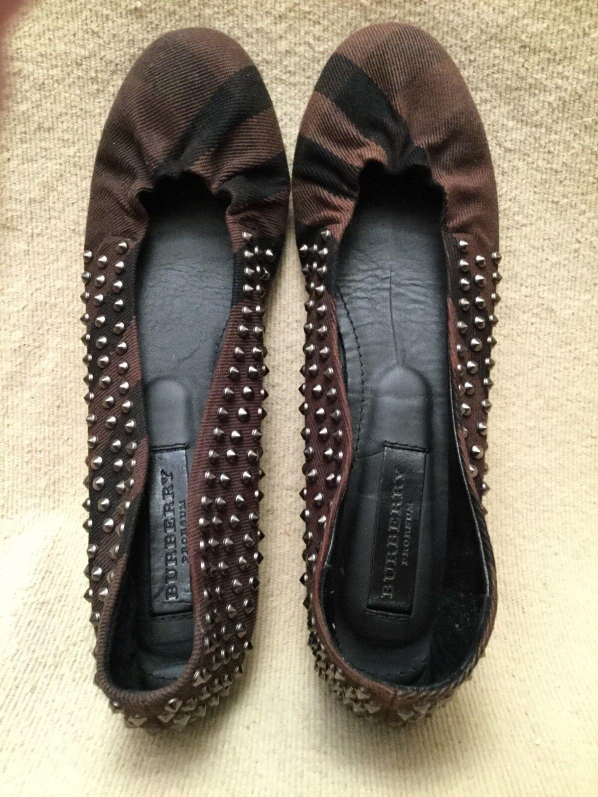 BURBERRY Prorsum Ballet Flats shoes Sz 38 – 7.5M Black & Brown Leather Sole EUC