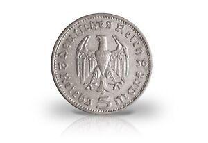 5-Reichsmark-1933-1936-Tercer-Imperio-Hindenburg-Jaeger-Nr-360