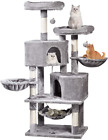 Multi-Level Cat Tree Cat Tower 57'' With Sisal-Covered Scratching Posts Cat Acti