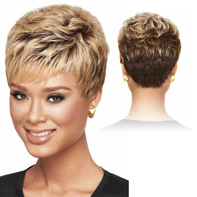 Vogue Ombre Short Blonde Brown Wigs For Black