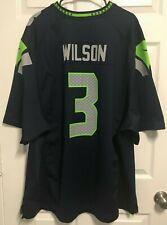 Seattle Seahawks Russell Wilson # 3 Besticktes Fu/ßballtrikot der Elite Edition Kurzarm-Sport-Top-T-Shirt American Football-Trikot