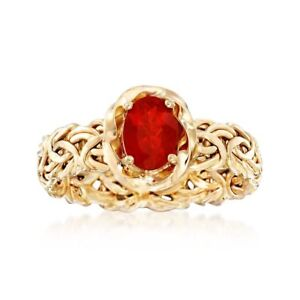 Natural-Fire-Opal-Byzantine-Band-Ring-Real-14K-Yellow-Gold-Sizes-7-8-9