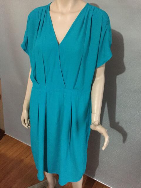 BNWT Womens Sz 22 Autograph Brand Viscose Jade Sleeveless Shift Dress RRP $90