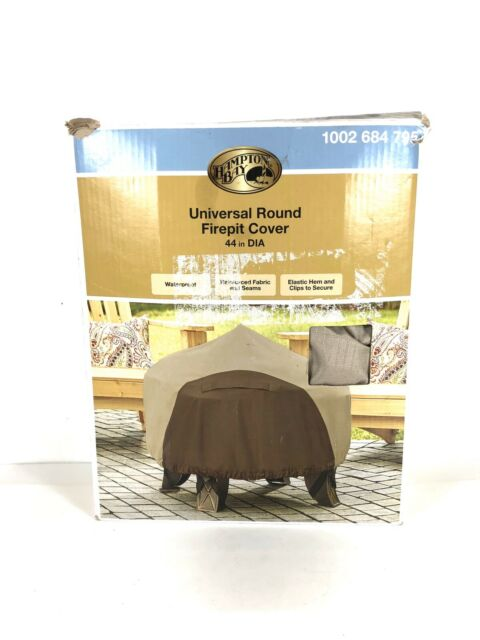 Hampton Bay Large Round Outdoor Patio Gas Fire Pit Cover ...