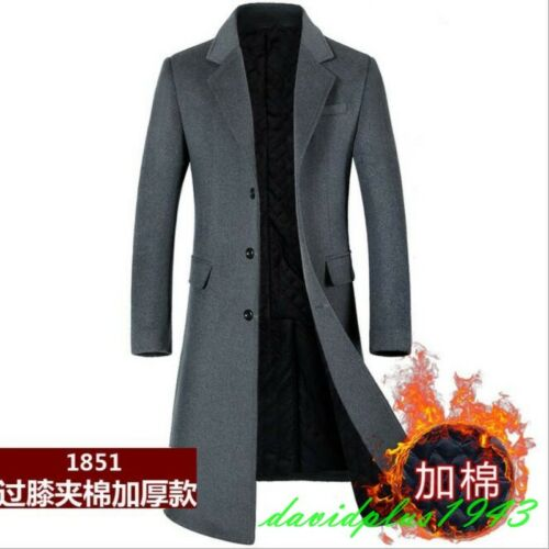 Mens Cashmere Blend Lapel Single Breasted Thicken Slim Fit Trench Coats Outwear