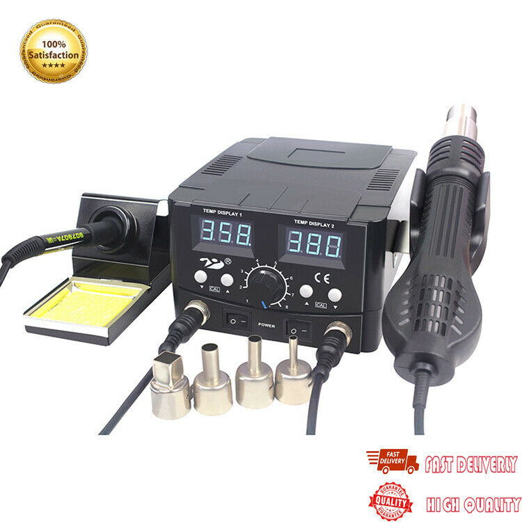 YCD-8582D 2 In 1 Hot Air Gun Soldering Station SMD Rework Station w  4 Nozzles
