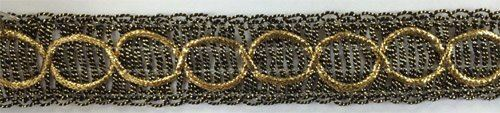 """TRIMPLACE ANTIQUE GOLD 1-1//8/"""" DOUBLE LOOP METALLIC 12 Yards"""