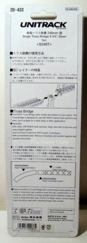 "Silver 1pc S248T New Kato Unitrack N Gauge 20433  9-3//4/"" Single Truss Bridge"