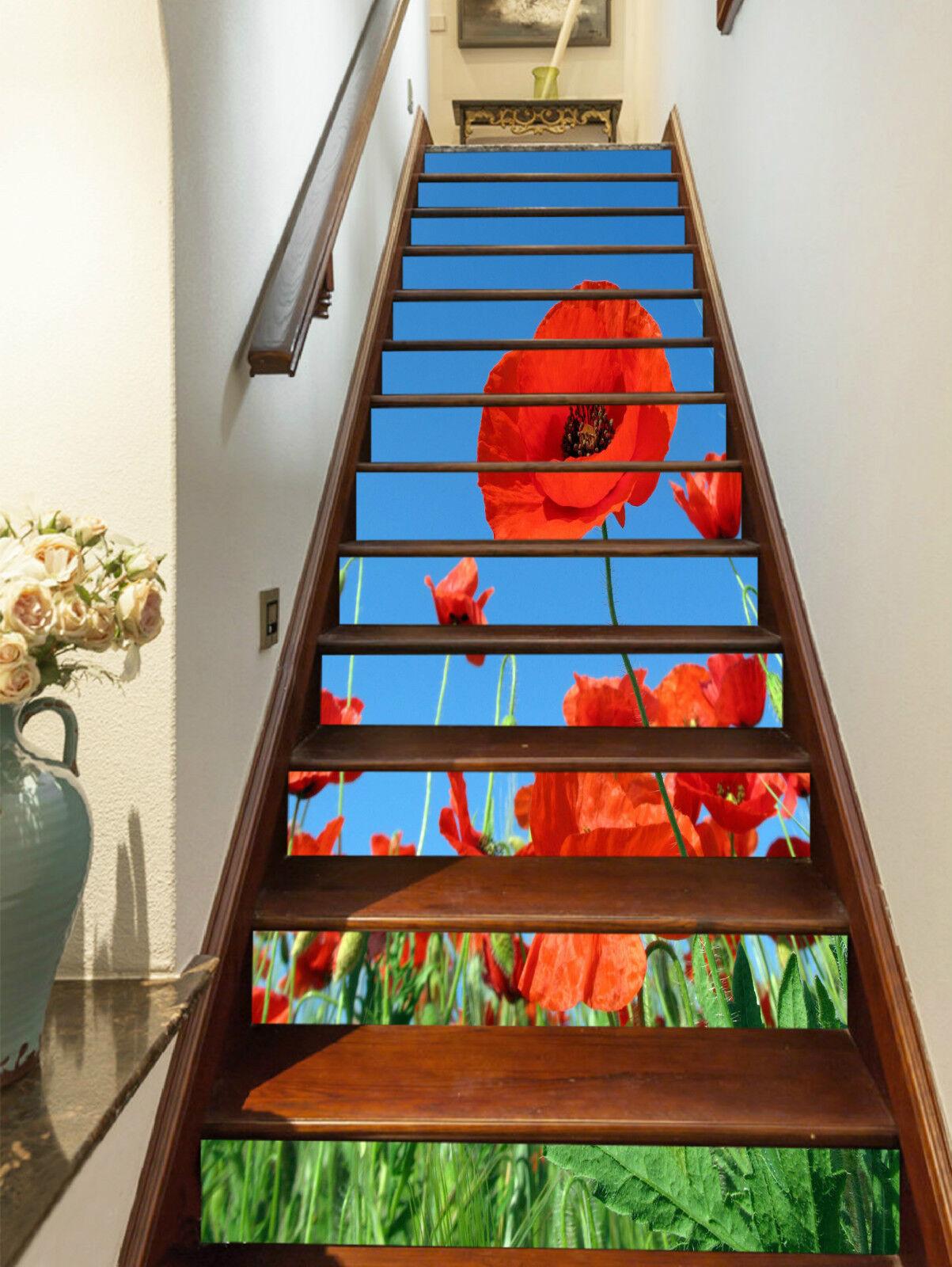3D Rote Blaume 072 Stair Risers Dekoration Fototapete Vinyl Aufkleber Tapete DE