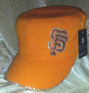 42d456606a96a SF San Francisco Giants Women s Rhinestone Bling Orange Cadet Cap ...
