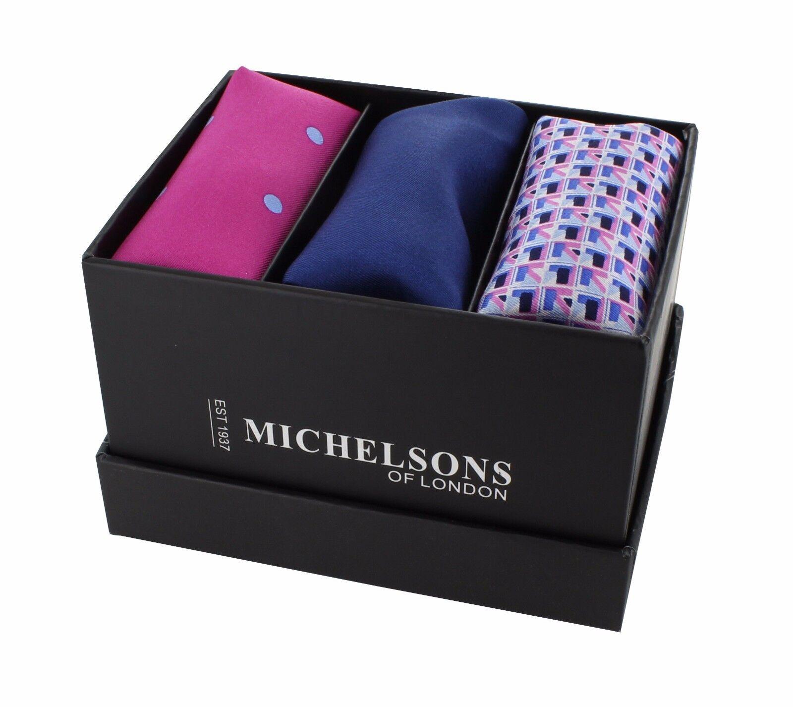 Pink Spot, Navy Plain, Pink Geo Pocket Square Gift Set