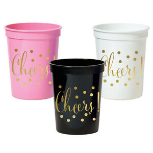 image is loading 500pk metallic gold cheers party cups bridal shower