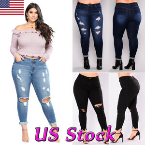 New-Womens-Plus-Size-Stretch-Denim-Jeans-Skinny-Ripped-Distressed-Frayed-Pants
