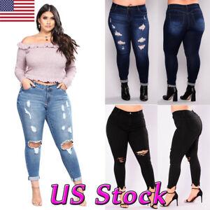 65ada7607d New Women PLUS SIZE Stretch Denim Jeans Skinny Ripped Distressed ...
