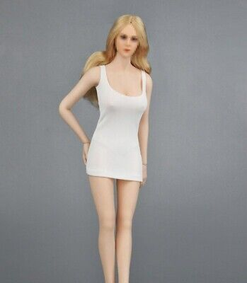"""1//6 Scale White Female Low chest Miniskirt Dress For 12/"""" PHICEN Figure Body Toy"""
