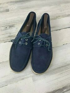 Bloomingdales-Mens-Store-Dock-Shoes-Navy-Suede-Size-11-Italy-Jute-Soles-Beach