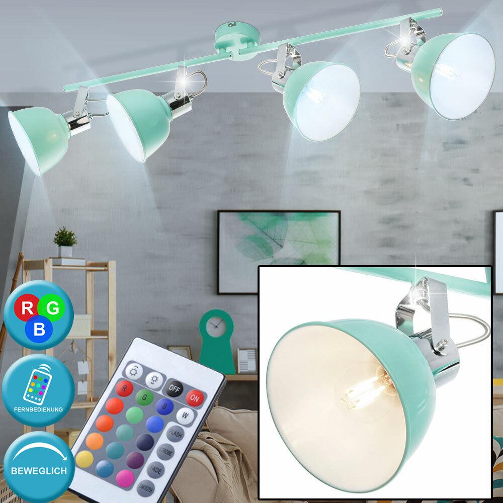 LED Retro Decken Lampe minze RGB Dimmer Fernbedienung Spot Strahler beweglich