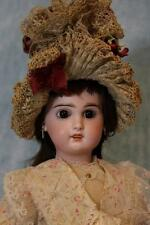 """Antique 18"""" Tete Jumeau French Doll Stamped Exquisite bonnet O/M Human Hair Wig"""