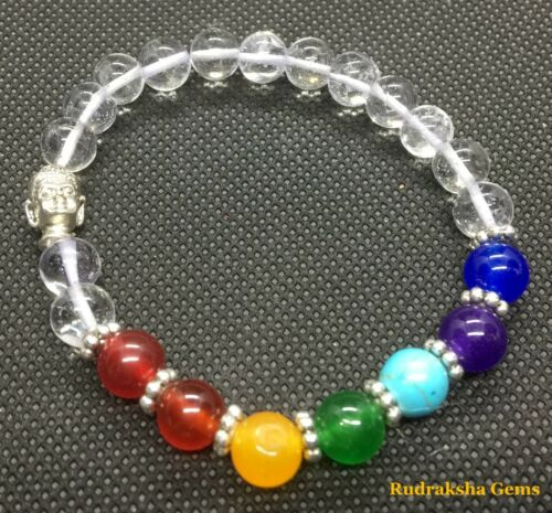 7 Chakra Buddha Bracelet with Crystal Reiki Stone Healing Balancing Stretch Yoga