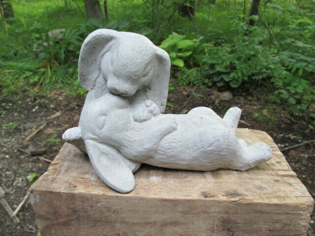 7 1 2 Long Cement Kissing Bunny Courting Rabbit Pair Garden Art Statue Concrete Ebay