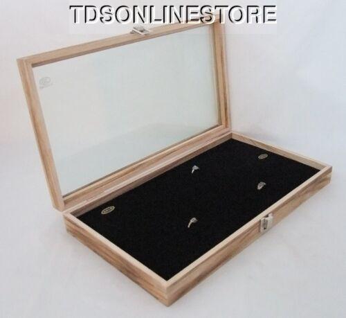 Rustic Antique Oak Color 144 Ring Glass Top Display Case Blk Insert